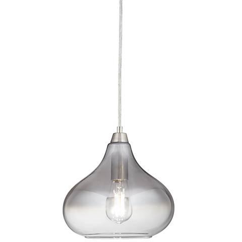 "Possini Euro Eun 9 1/2"" Wide Brushed Nickel LED Mini Pendant"
