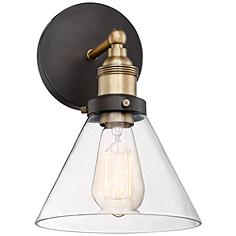 """Burke 10 3/4"""" High Bronze and Warm Brass LED Wall Sconce"""