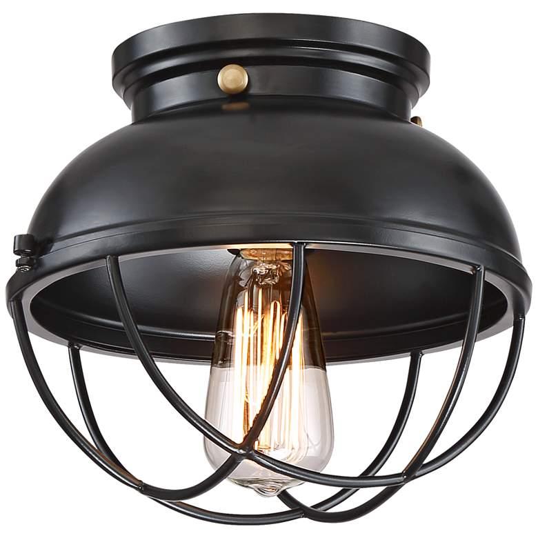 "Walton 10 1/2"" Wide Black Cage LED Ceiling Light"
