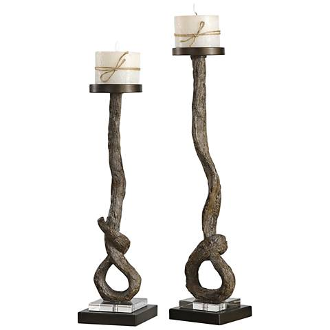 Frances Antiqued Bronze 2-Piece Pillar Candle Holder Set