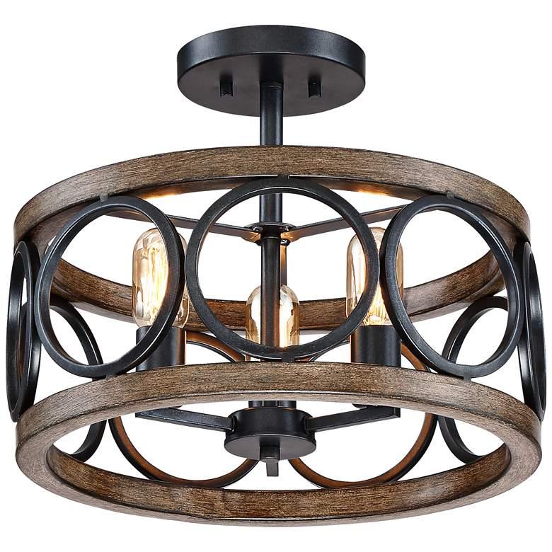 "Salima 16""W Black and Wood Grain 3-Light LED Ceiling Light"