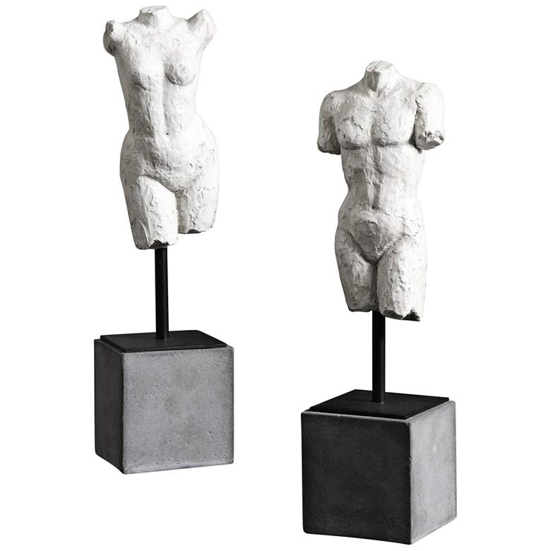 "Uttermost Valini 2-Piece 14""H Textured Aged White Statue Set"