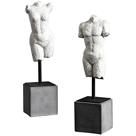 """Uttermost Valini 2-Piece 14""""H Textured Aged White Statue Set"""