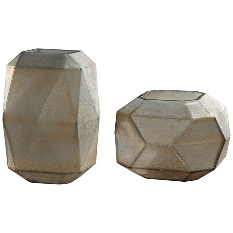 Luxmi Aged Gray Geometric Glass Vases - Set of 2