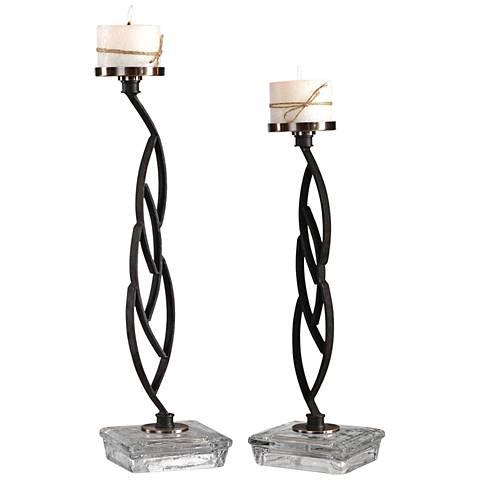 Mahin Aged Black Iron 2-Piece Pillar Candle Holder Set