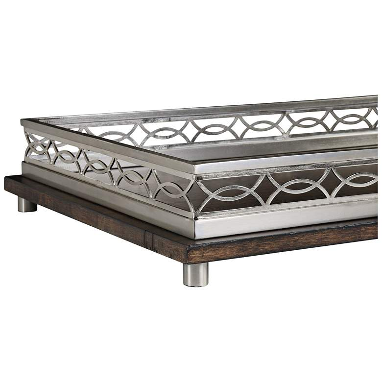 "Gualtiero 27"" Wide Brushed Nickel and Wood Decorative Tray"