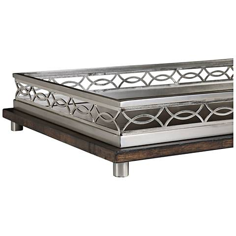 Gualtiero Brushed Nickel and Warm Chocolate Brown Tray