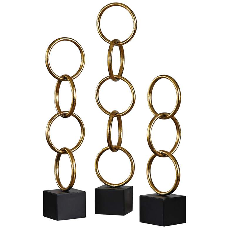 Uttermost Chane Metallic Gold Leaf Sculptures - Set of 3