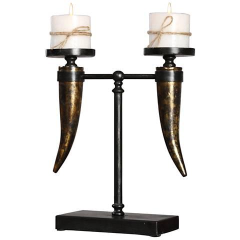 Janaki Aged Black and Gold Leaf Pillar Candle Holder