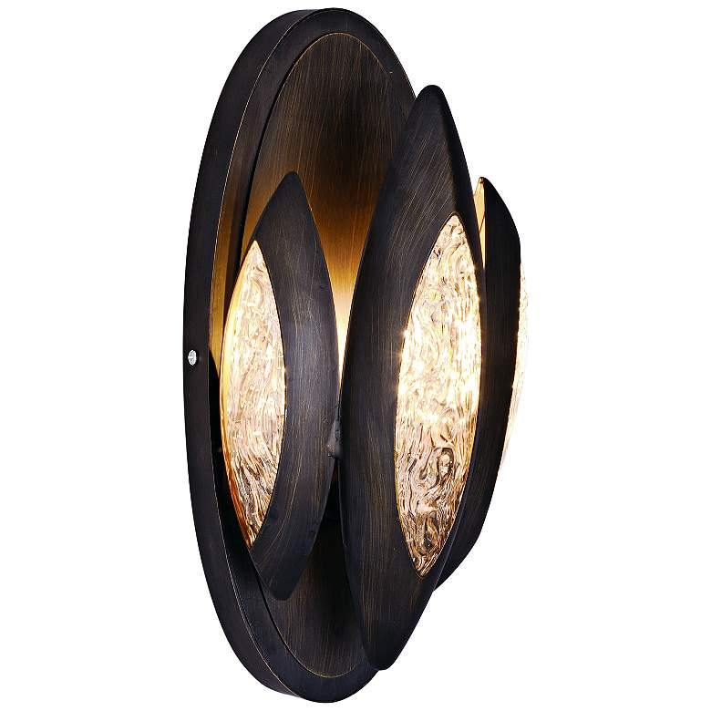 "Maxim Lotus 11 3/4"" High Burnished Bronze Wall Sconce"