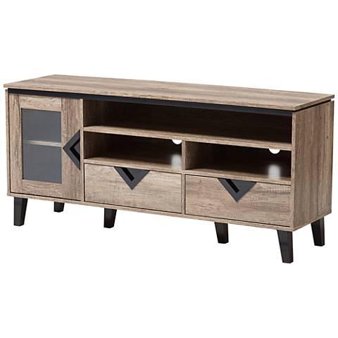 Baxton Studio Cardiff Light Brown Wood 2-Drawer TV Stand