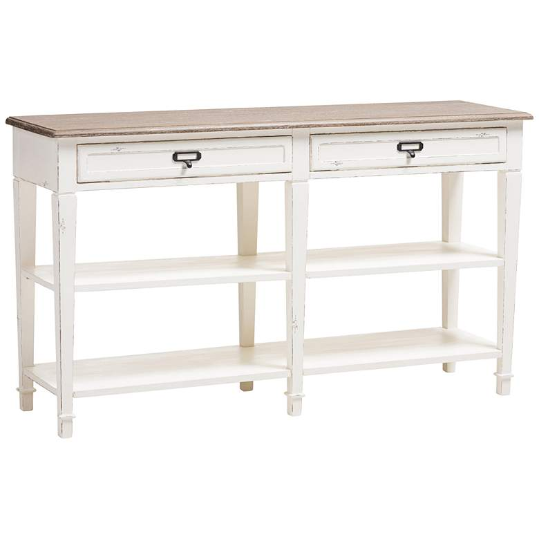 Dauphine Weathered Oak and White Wash 2-Drawer Console Table