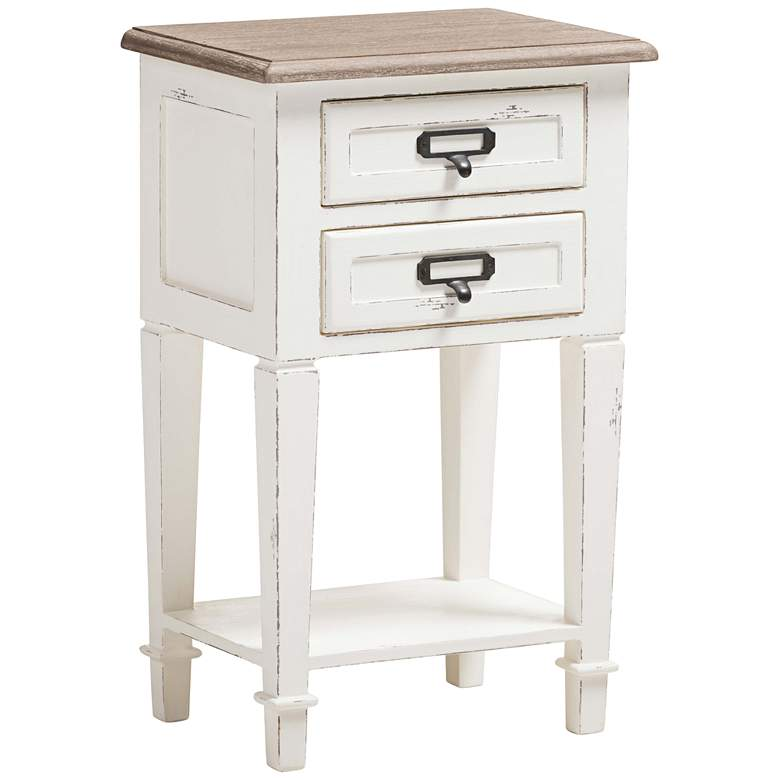 """Dauphine 15 3/4"""" Wide Weathered Oak and White Side Table"""