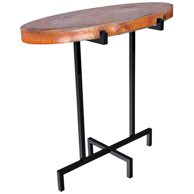 """Kalispell 18"""" Wide Hand-Forged Black Iron Oval Accent Table"""
