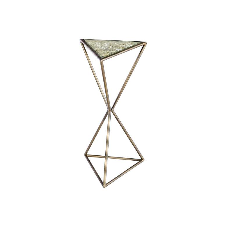 "Mondez 12"" Wide Brass Geometric Modern Accent Table"