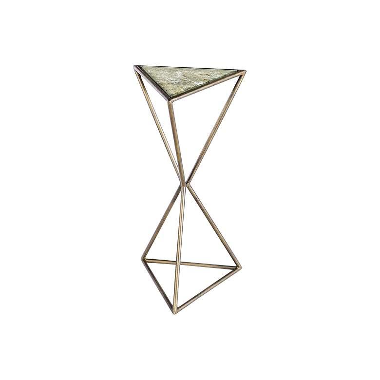 "Mondez 12"" Wide Brass Geometric Modern Accent Table"