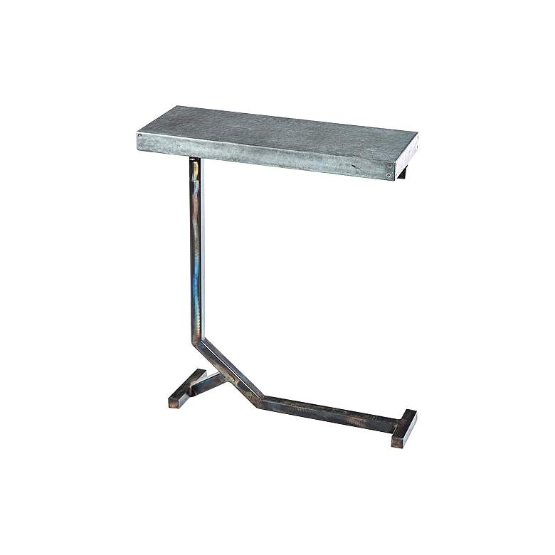 "Collier 20"" Wide Hammered Zinc Industrial Accent Table"