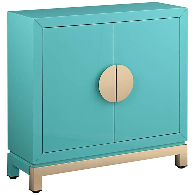 "Walden 36"" Wide 2-Door Glossy Blue Teal Accent Cabinet"