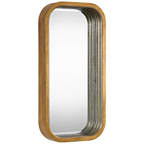 """Senio Silver and Gold 15 3/4"""" x 31 1/2"""" Wall Mirror"""