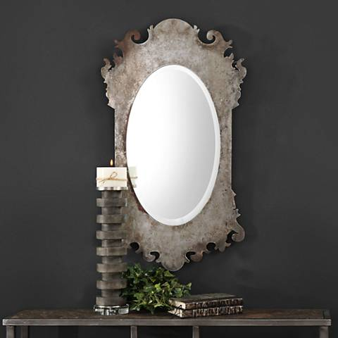"Vitravo Burnished Oxidized Silver 20"" x 35"" Wall Mirror"