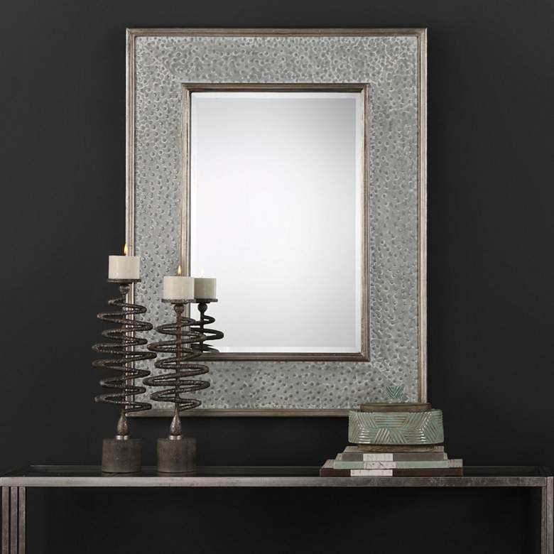 "Draven Taupe Gray Wash 40"" x 52"" Oversized Wall Mirror"