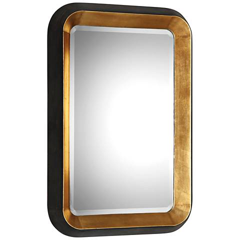 """Niva Antiqued Gold Leaf and Black 28"""" x 42 1/4"""" Wall Mirror"""