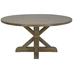 Trestle Provincial Salvage Gray Wood Round Dinning Table