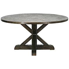 Trestle Provincial New Driftwood Brown Round Dinning Table