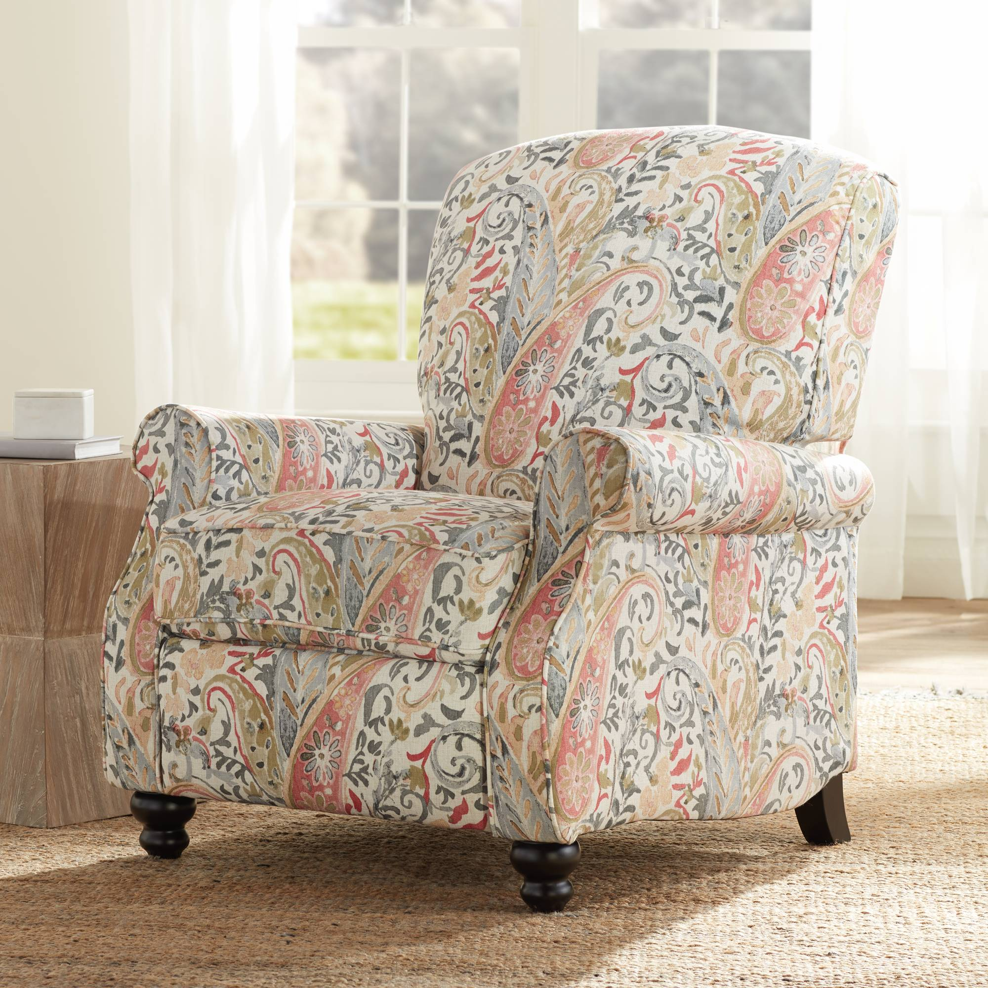 Stupendous Details About Ethel Coral Paisley Push Back Recliner Chair Caraccident5 Cool Chair Designs And Ideas Caraccident5Info