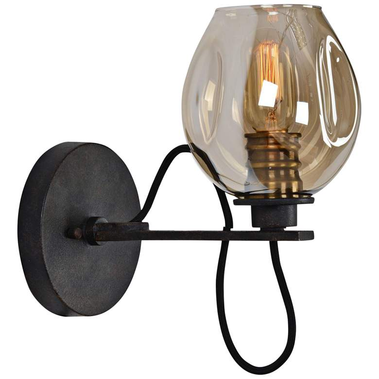 "Uttermost Fritz 10 3/4""H Bronze and Golden Glass Wall Sconce"