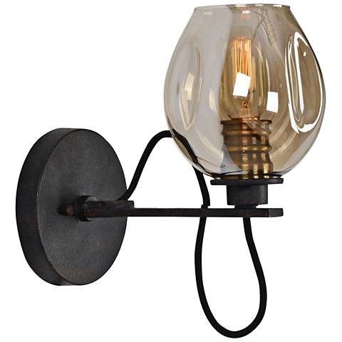 """Uttermost Fritz 10 3/4""""H Bronze and Golden Glass Wall Sconce"""