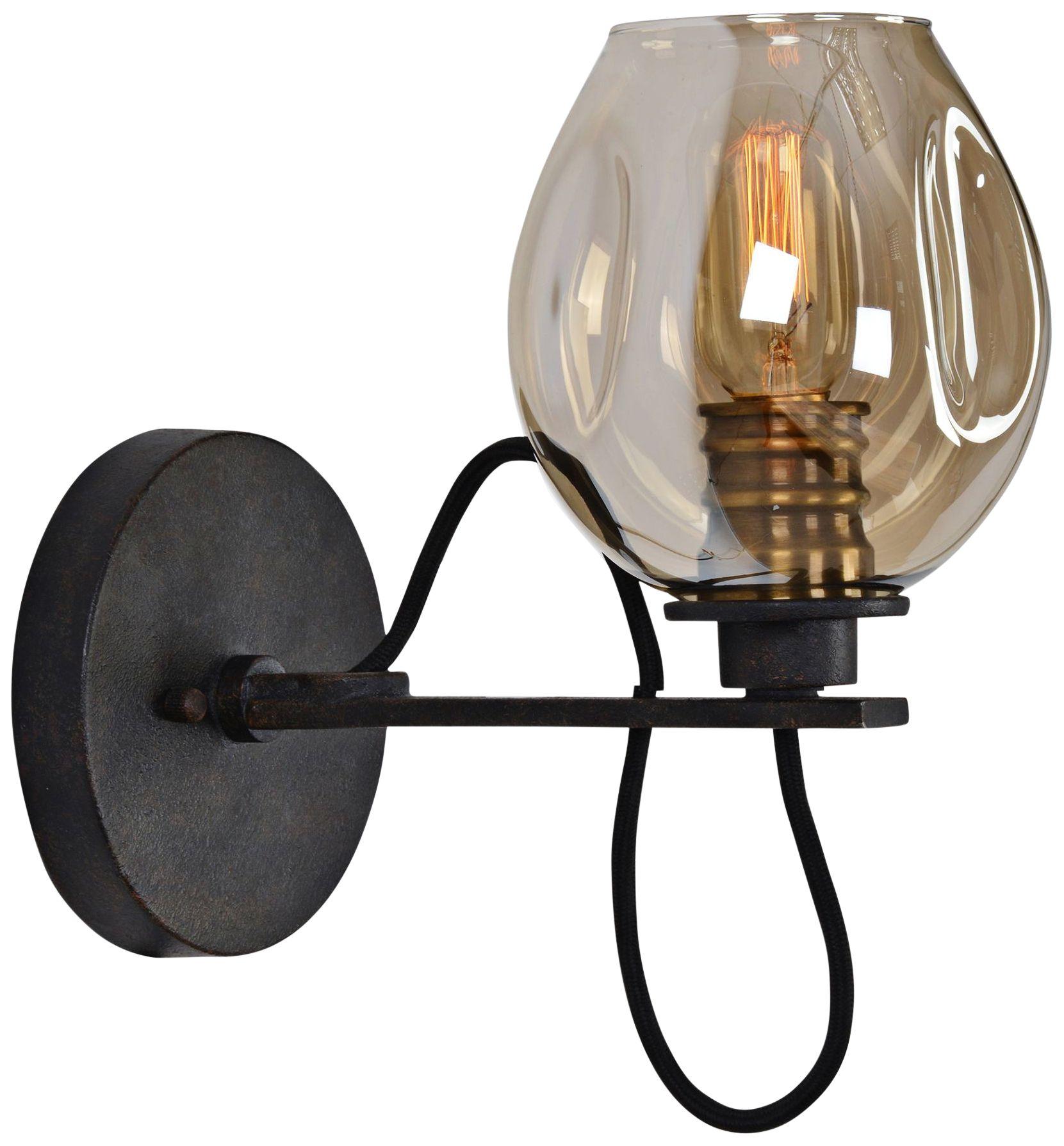uttermost fritz 10 3 4  h bronze and golden glass wall sconce uttermost contemporary sconces   lamps plus  rh   lampsplus