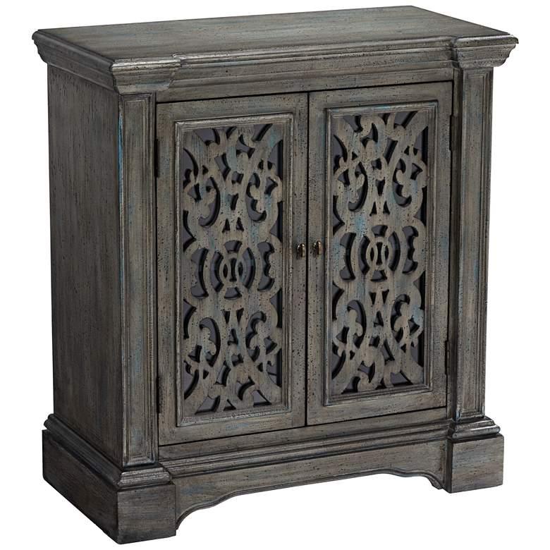 """Midvale 32"""" Wide Textured Gray-Blue 2-Door Cabinet"""