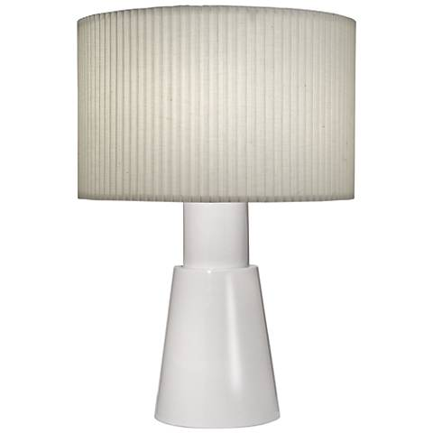 Carson Converse Gloss White Accent Table Lamp w/ Linen Shade