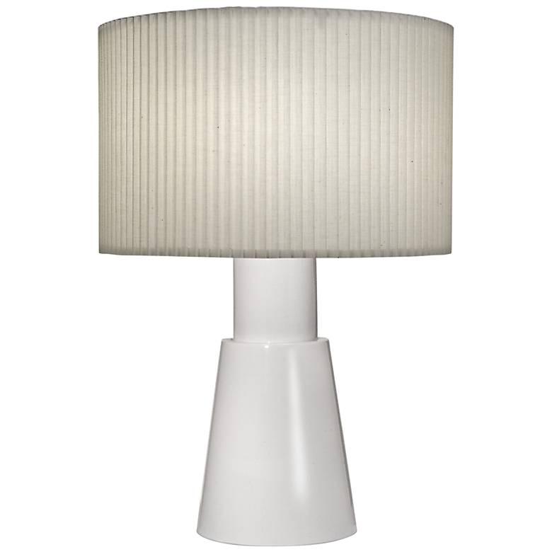 Carson Converse Gloss White Accent Table Lamp w/ Linen Shade