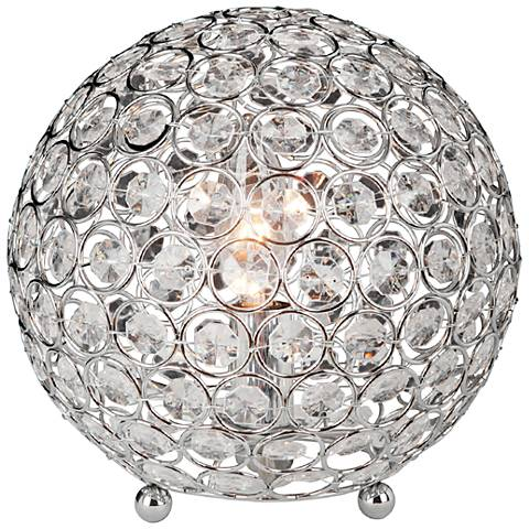 """Brasero Chrome 8"""" High Crystal Ball Sequin Accent Table Lamp"""