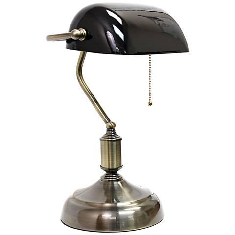 Locust Antique Nickel and Black Glass Banker's Desk Lamp