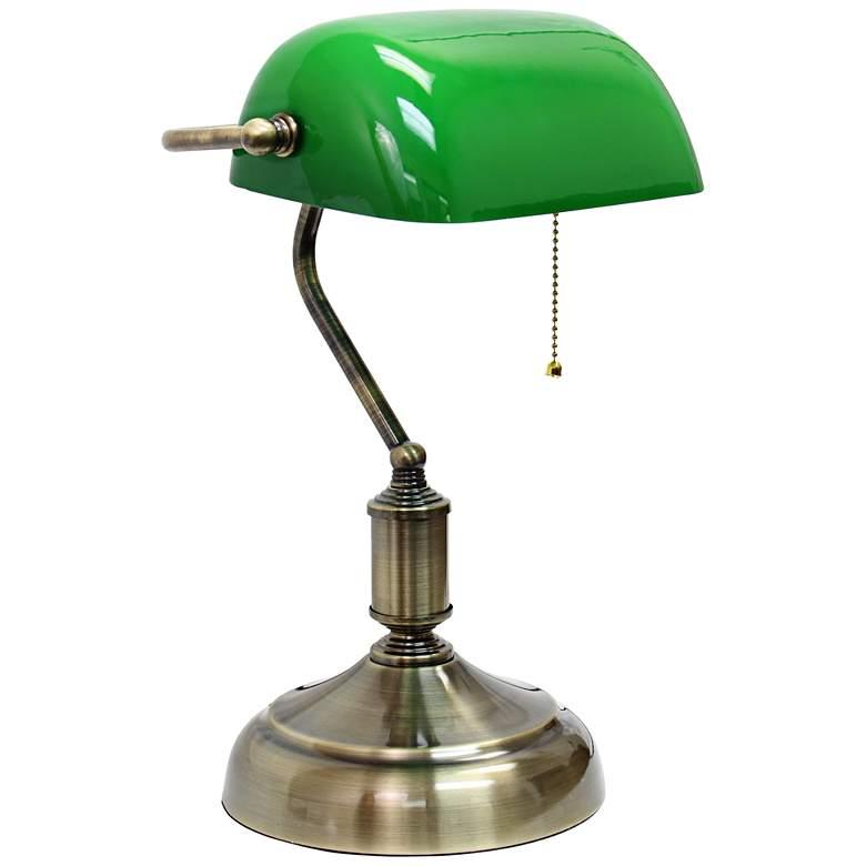 Locust Antique Nickel and Green Glass Banker's Desk Lamp
