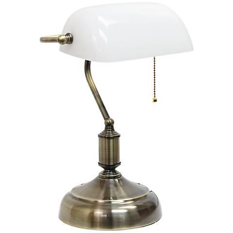 Locust Antique Nickel and Glass Banker's Desk Lamp