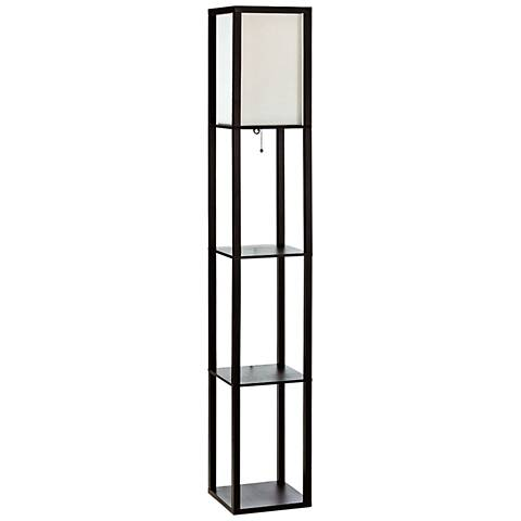 Cole Black Floor Lamp w/ 3 Etagere Organizer Storage Shelves