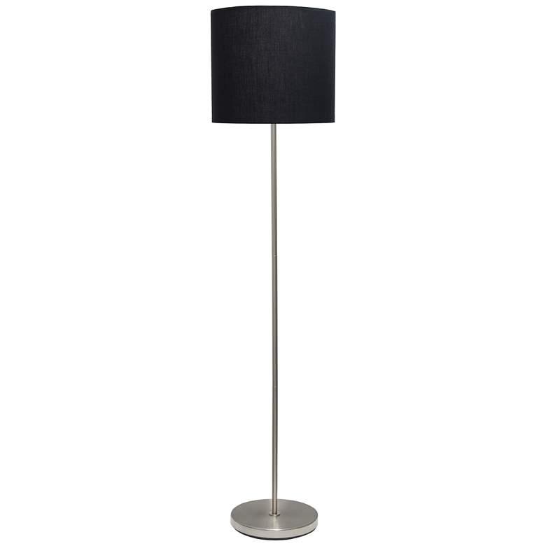 Analisa Brushed Nickel and Black Shade Floor Lamp