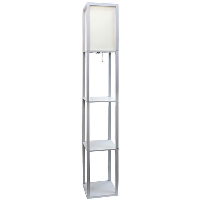 Cole Gray Floor Lamp w/ 3 Etagere Organizer Storage Shelves