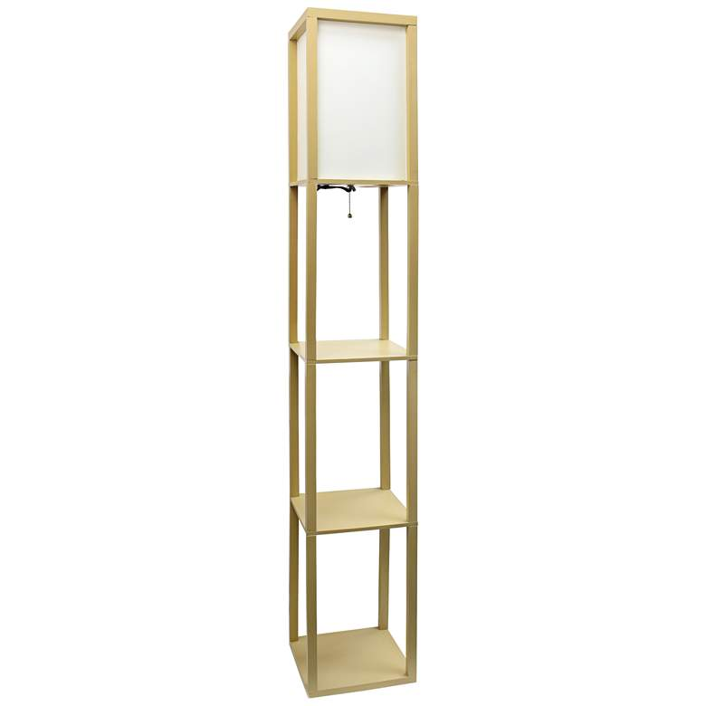 Cole Tan Floor Lamp with 3 Etagere Organizer