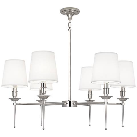 "Cedric 34 1/4"" Wide Polished Nickel 6-Light Chandelier"