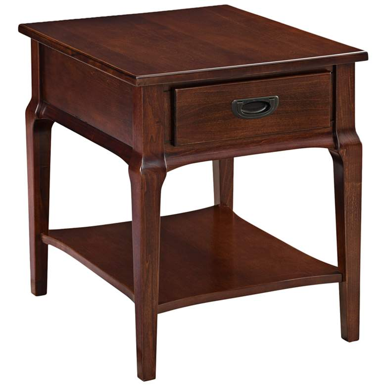 """Stratus 24"""" Wide Heartwood Cherry 1-Drawer Wood End Table"""