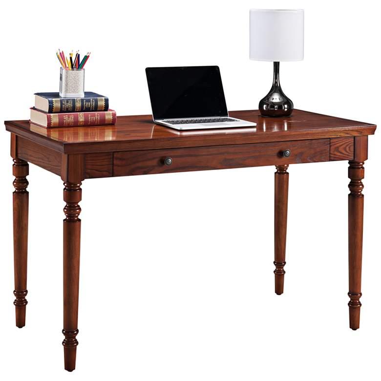 "Leick 48"" Wide Farmhouse Mission Oak Wood Laptop Desk"