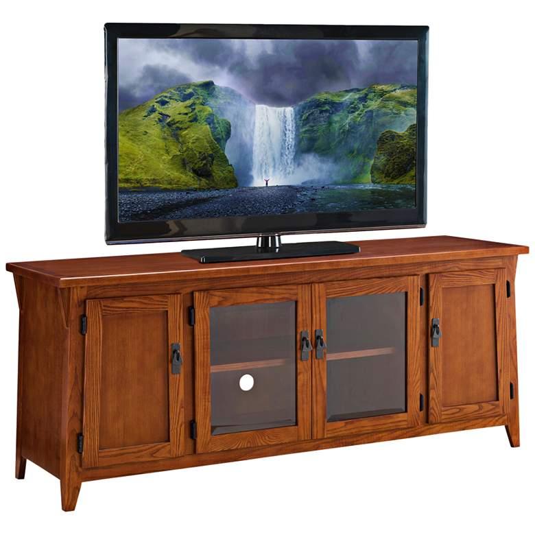 """Dresden 60"""" Wide Russet 4-Door Wood TV Console by Leick"""