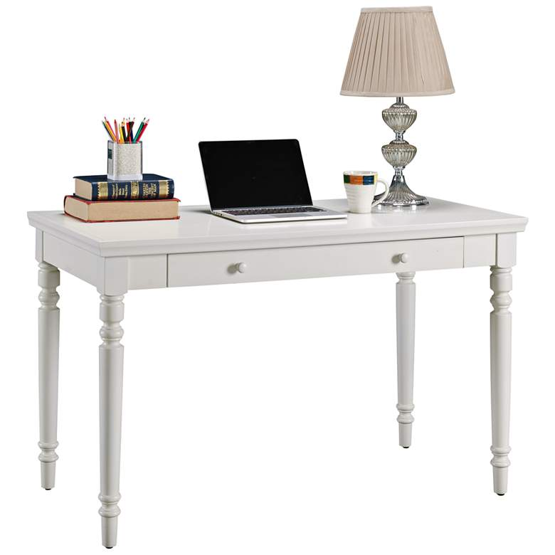 "Leick 48"" Wide Farmhouse White 1-Drawer Wood Laptop"