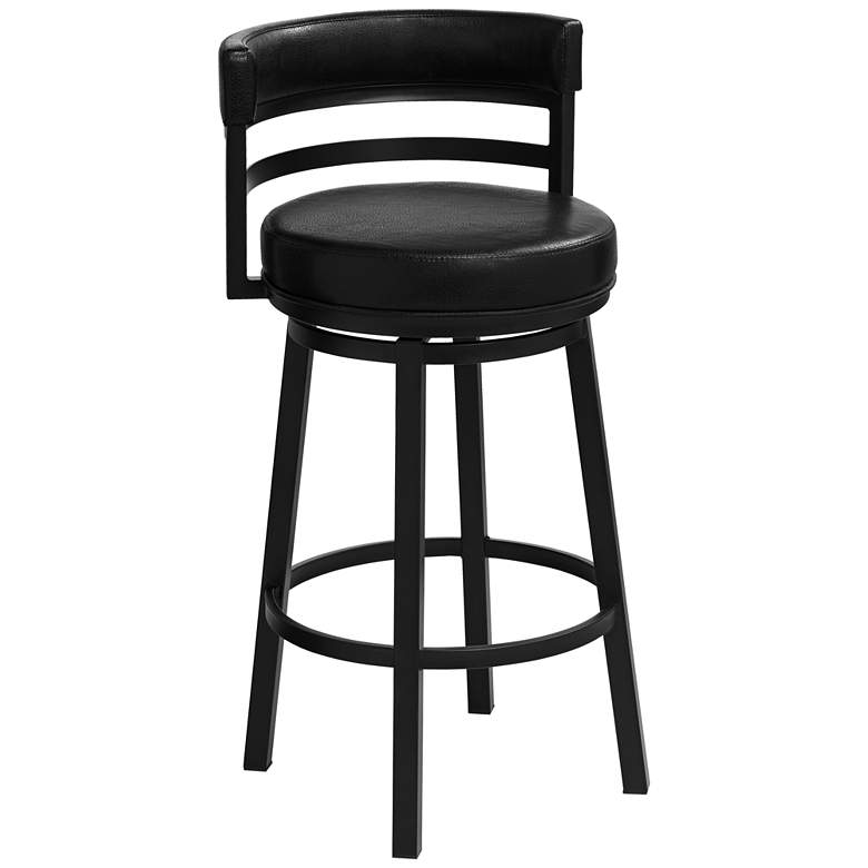 "Madrid 30 1/2"" Ford Black Faux Leather Swivel Bar Stool"