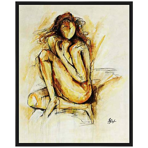 "Golden Figurative 41 3/4""H Hand-Embellished Canvas Wall Art"